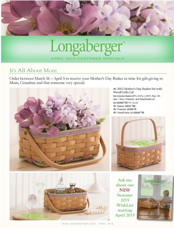 longaberger mother's day basket 2015
