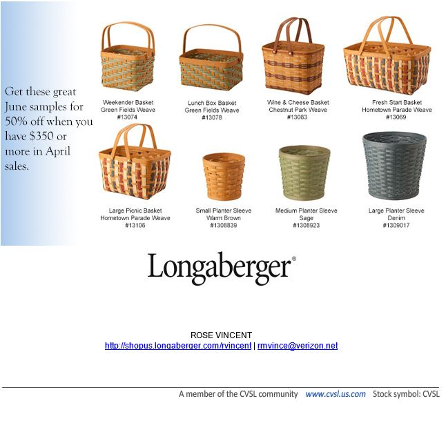 longaberger consultant Rose Vincent